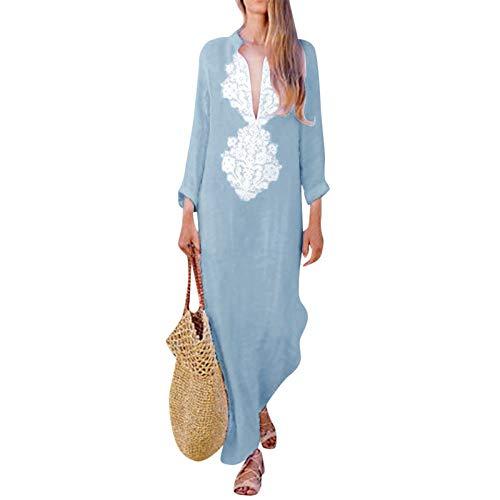 Holywin Mode Populaire Robe Maxi à Manches Longues et à Encolure en V pour Femmes Robe Longue...