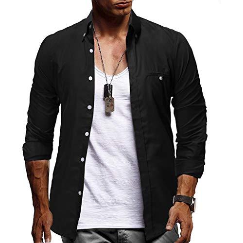 manadlian Blouse T Shirts Homme Chemise à Manches Longues pour Hommes Grande Taille Chemises...