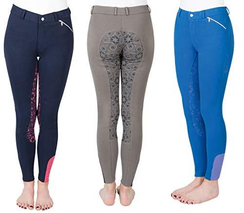 PFIFF Zahra 102604-226-140 Pantalon d'équitation pour Fille Gris/Bleu Taille 140