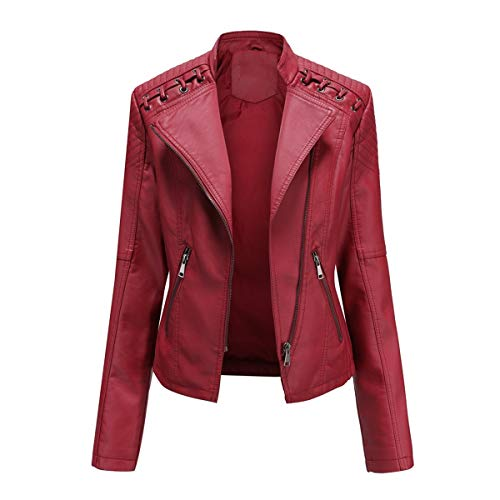 YYNUDA Veste Femme de Motard Vintage Blouson en Cuir PU Veste Moto Rouge XXL