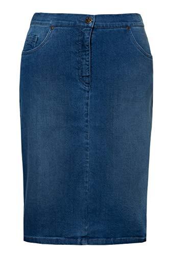 Ulla Popken Femme Grandes Tailles Jupe en Jean, Coupe fuselée, 5 Poches, Zip Bleu Jean 46...
