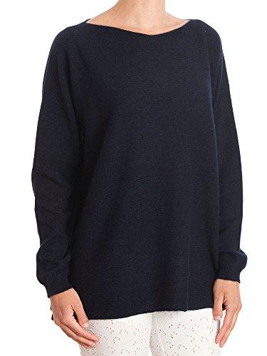 DALLE PIANE CASHMERE - Maxi Pull 100% Cachemire - Femme, Couleur: Bleu, Taille Unique