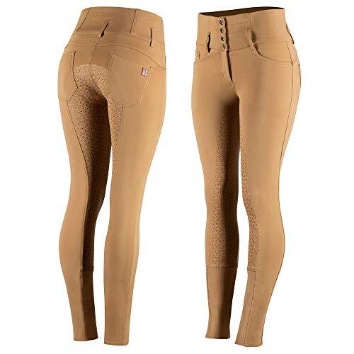 HORZE Pantalon d'équitation Taille Haute Tara, Silicone, Fond intégral, Femme, Marron, 40