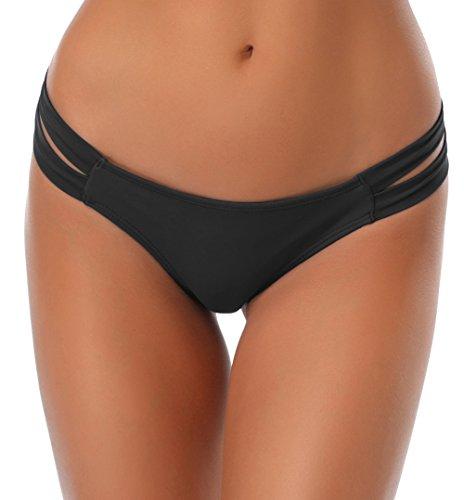 SHEKINI pour Femme String Maillots de Bain Brésilien Bikini Bottom Thong Panty String Bas de Maillots Sexy Bas Swim Trunks Taille Basse Tanga Bas de Plage Slip de Bain (Medium, Noir)