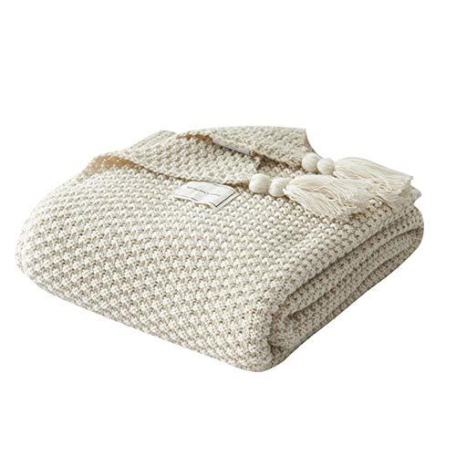 Unvfrg Nordic faite à la main en tricot Couverture Mode pour couverture souple plaids pour canapé Bedsure Dreamscene Couverture couvre-lit, beige, 130x170cm
