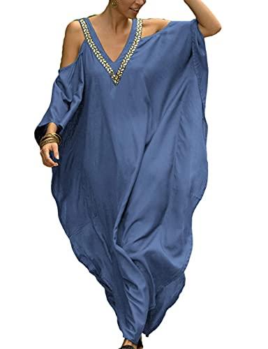 LVCBL Robe d'été longue pour femme - Caftan - Robe de plage - Robe de plage - Style bohème - Bleu