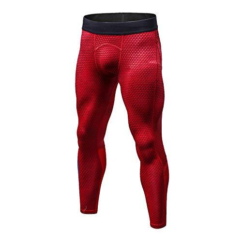 Bmeigo Homme Workout Leggings 3D Running Exercise Tight Bodybuilding Sport Pantalons, Rouge, 170/125(L)