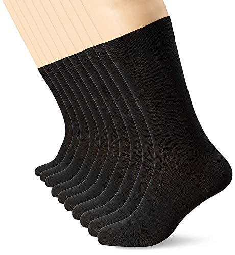FM London - Chaussettes Homme - Pack de 10 - Coton - Confortable et Respirante - Taille 39/45 - Noir prix et achat