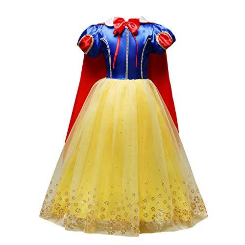 Lito Angels Deguisement Robe Princesse Blanche Neige avec Cape Enfant Fille, Costume d'halloween Anniversaire Fete Carnaval, Taille 6-7 Ans, Style C