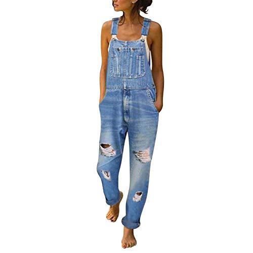 Runstarshow Salopette Jeans Femme Déchirée Skinny Chic Vintage Pantalon Denim Coton avec...