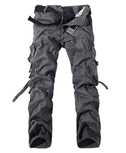 Kuson Hommes Pantalons 100% Coton Cargo Sport Multi-Poches Epais Outdoor Lâche Gris FR 42