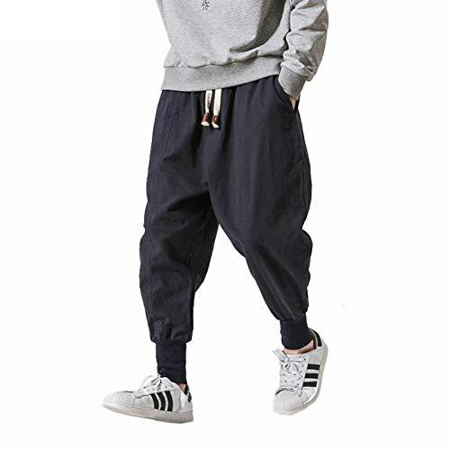 YJDMJJ Pantalon de Jogging Cargo Harem Streetwear Hommes Sarouel Style Japonais Pantalon en Lin décontracté Homme Pantalon de Jogging Pantalon Baggy Chinois Grande Taille 5XL