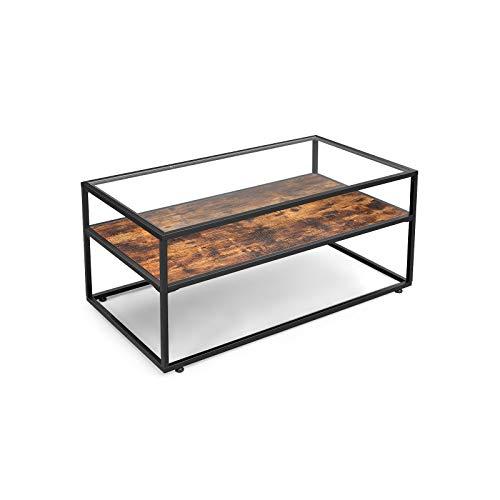 VASAGLE Table Basse avec Dessus de Table en Verre, Table de Salon, Cadre en Acier Stable, décoration de Salon, Style Industriel, Marron Rustique et Noir LCT30BX