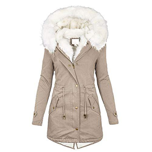Fcostume Veste d'hiver, à capuche, pour femme, en peluche chaude doublée de laine polaire, longueur allant jusqu'à la cuisse, manteau, parka, kaki, 48