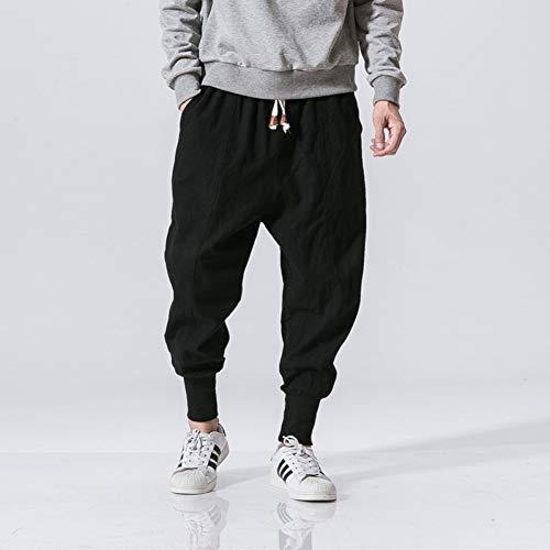 YJDMJJ Pantalon de Jogging Cargo Harem Streetwear Hommes Sarouel Style Japonais Pantalon en Lin...