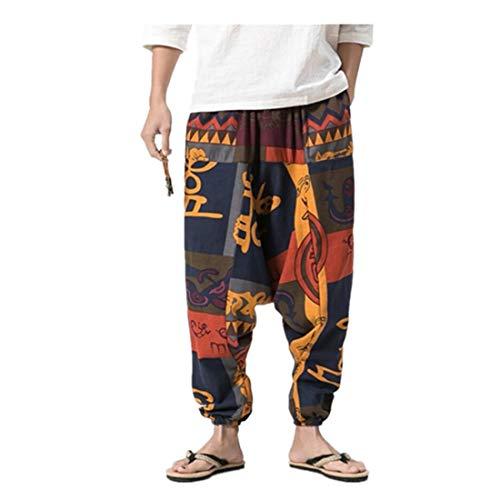 Pantalon sarouel unisexe dans de nombreuses couleurs individuelles - Pantalon sarouel pour homme Pantalon Baggy Bloomers Yoga Dance Beach Pantalon décontracté grande taille Sarouel imprimé rétro
