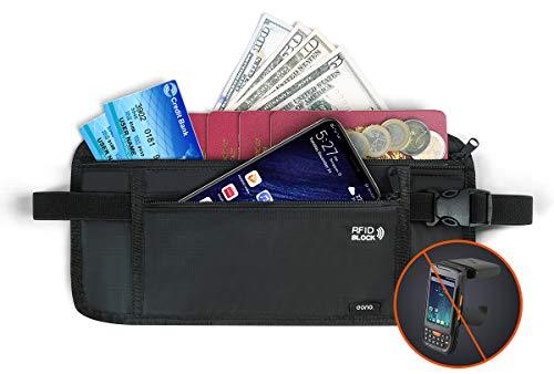 Eono by Amazon - Ceinture porte-monnaie pour les voyages, pochette de sécurité cachée RFID pour argent, cartes, clés et passeport avec sangle élastique réglable