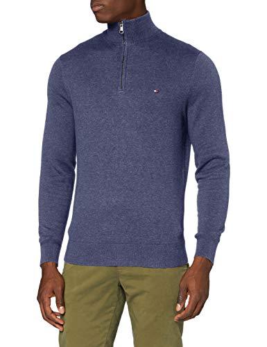 Tommy Hilfiger Pima Cotton Cashmere Zip Mock Sweater, Faded Indigo Heather, S Homme prix et achat