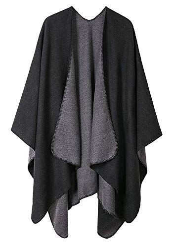 Shmily Girl Femme Cape Poncho Extra Large écharpe Châle Blanket Poncho Automne Hiver (One...