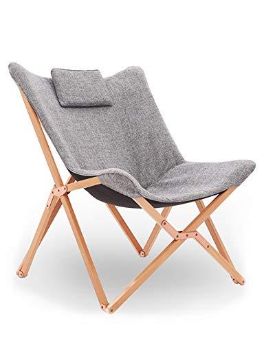 Chaise Longue Pliable Fauteuil Relaxation Pliante Chaise de Plage Design en Tissu Bois pour Exterieur Jardin Tressée Patio Salon Chambre Gris Clair