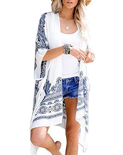 Walant Femmes Gilet Kimono Casual Veste Cardigan - Blanc/Bleu avec imprimés -Large
