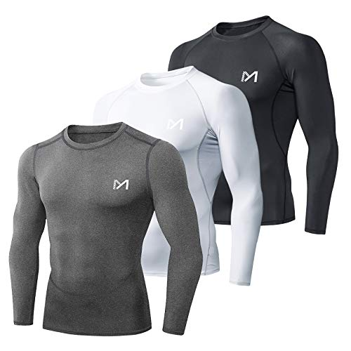 MEETYOO Tee Shirt Compression Homme Manche Longue, Baselayer Maillot Running Vetement Fitness pour Sports Jogging Musculation (Noir+Gris+Blanc, S)