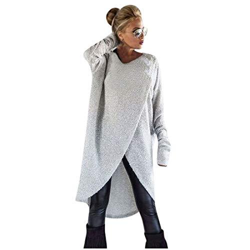 Pull Femme,LianMengMVP Femmes Sweat-Shirt Ample à Tricoter irrégulier Pull Long Tops...