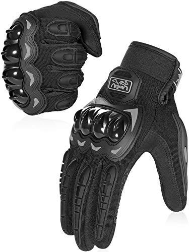 COFIT Gants de Moto, Gants à Écran Tactile Plein-Doigt pour la Course de Moto, VTT, Escalade, Chasse, Randonnée et Autres Sports de Plein Air - Noir L