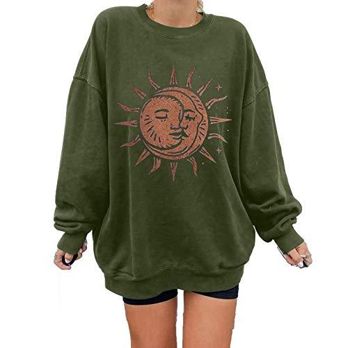 Sweat-shirt pour femme Automne Hiver Soleil Lune Imprimé Pullover Col O Manches Longues Patchwork Tops Plus Size T-shirt Blouse (XL, Vert) prix et achat