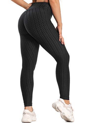 SEASUM Leggings Sport Femme Anti-Cellulite Push Up Pantalon de Sports Taille Haute Sexy Yoga Pants Slim Fit Butt Lift Collants de Compression Jogging Fitness Gym Pilates, B-Noir XXL