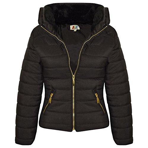 A2Z 4 Kids Enfants Filles Noir Veste Élégant - Puffer Jacket. Black 9-10