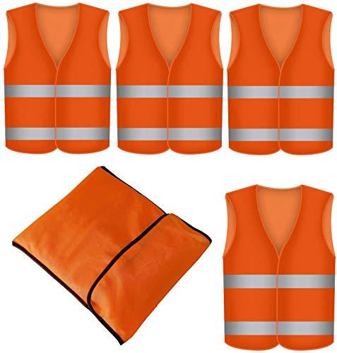 4 Gilet de Securite Infroissable Orange Fluo avec Poche - Lot de 4 Gilets de Sécurité Réfléchissants à 360 Degrés - Lavable en Machine