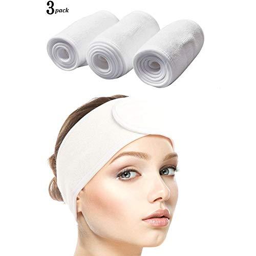 Queta 3PCS Bandeau Maquillage Cheveux Lavable Bandeau Serre-Tête Scratch Blanc Pour Spa Yoga Sport Se Maquiller Soins du Visage prix et achat