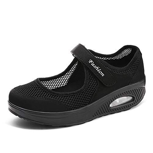 Femmes Minceur Chaussures Taille 35-42eu Marche Baskets Plate-Forme Chaussures Poids Air Léger Engrener Elastic Sports en Yoga à Enfiler Pas Cher Trainers en Maille Plates Été noir- 41EU