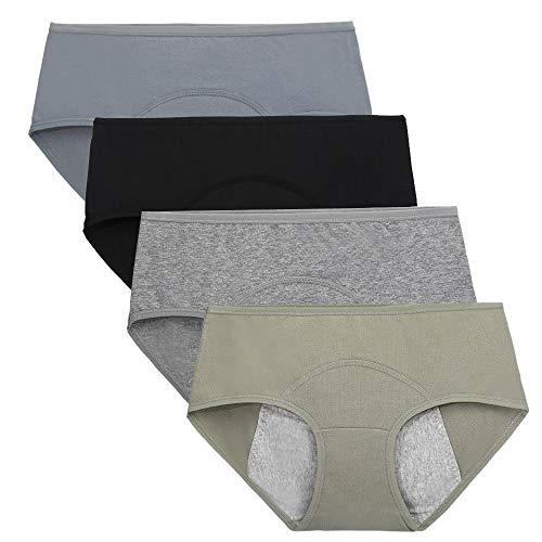 Nightaste Culottes de Période Menstruelle en Coton pour Filles Micro Mesh Menstruation Slips Règles pour Femmes Post-Partum sous-vêtements(Lot de 4) (S(Taille: 61-63.5cm), Style1)