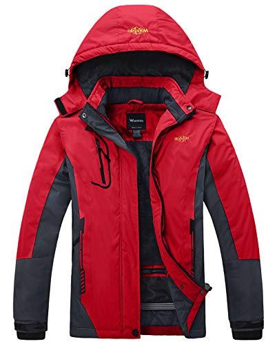 Wantdo Femme Veste de Ski Imperméable Voyage Coupe-Vent Manteau d'hiver Chaud avec Capuche Veste Randonnée Travail Veste de Snowboard Outdoor Rouge L prix et achat