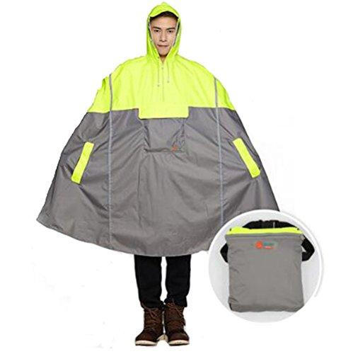 SudaTekPoncho de pluie léger à capuche avec bandes réfléchissantes, Mixte, jaune fluo, One size fit for all