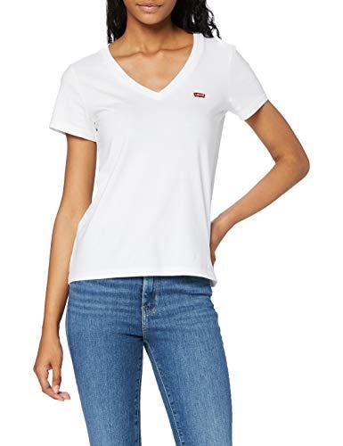 Levi's Perfect V Neck T-Shirt, Blanc (White + 0002), Medium Femme