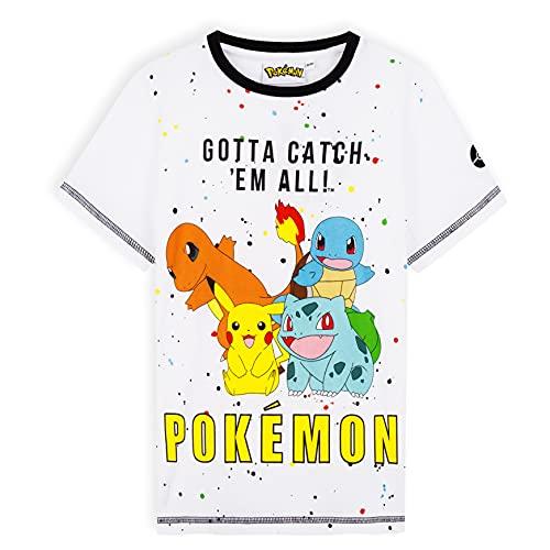 Pokemon T Shirt Enfant Garçon, Pikachu T Shirt Manches Courtes, 100% Coton 5-12 Ans (5-6 Ans, Blanche)