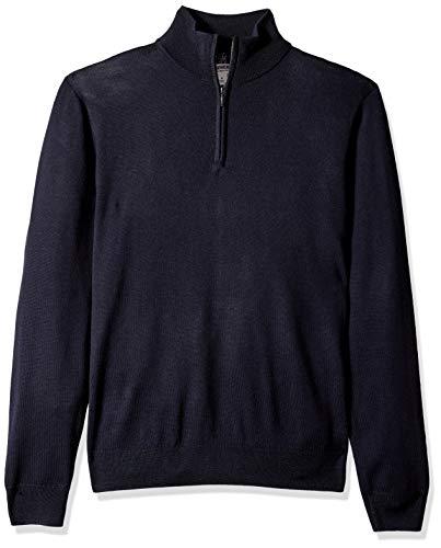 Marque Amazon – Goodthreads Pull en laine mérinos avec fermeture éclair courte pour homme, Bleu (navy Nav), US S (EU S)