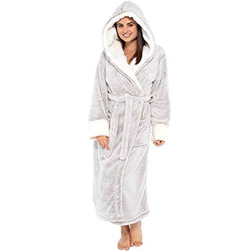 ZYUEER Peignoir Femme Polyester Robe de Chambre Chaud Long Peignoir de Bain Hiver Longue Pas...