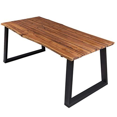 vidaXL Bois d'Acacia Massif Table de Salle à Manger Table à Dîner Table de Cuisine Table de Repas Meuble de Cuisine Maison Intérieur 170x90x75 cm
