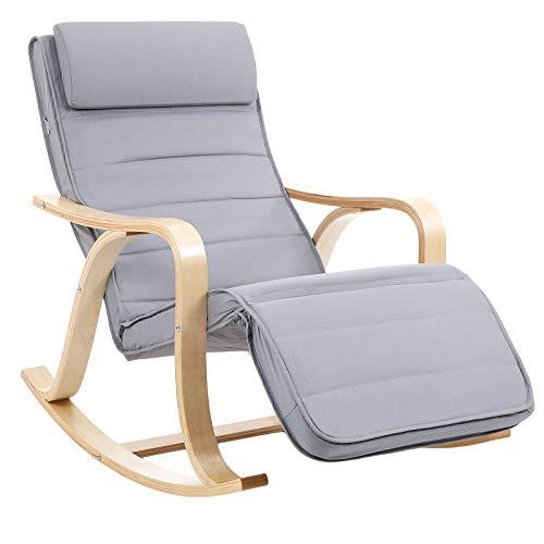 SONGMICS Fauteuil à bascule en bois de bouleau, Chaise berçante avec repose-pied réglable sur 5 hauteurs, housse en coton, capacité de charge 150 kg, Gris LYY41G