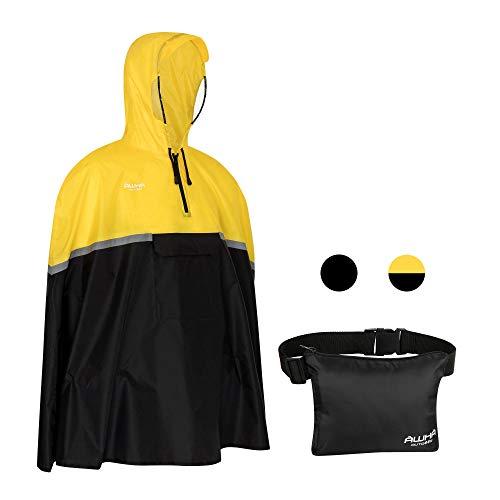AWHA Poncho Pluie de Vélo - Poncho jaune Imperméable Incluant une Capuche avec Côtés Transparents / Bande Réfléchissante / Homme et Femme / Veste de Pluie Conçue pour le Cyclisme