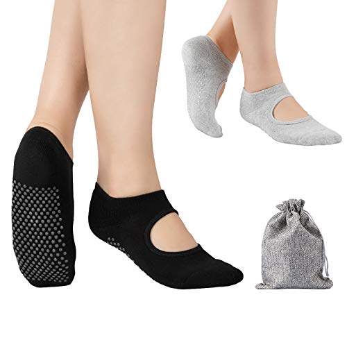 Tusscle Chaussettes Yoga, Chaussettes Antidérapantes Pilates pour Yoga Barre Ballet Fitness Femme Homme (Noir+Gris)