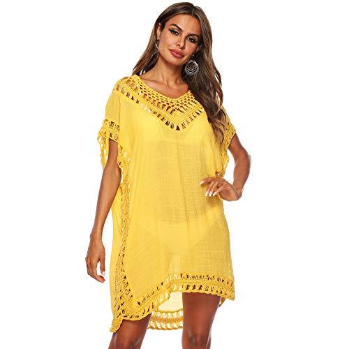 Uniquestyle Femmes ɴ頂ohemian Crochet Dentelle T-Shirt Top Blouse Tunique de Plage Jaune,Taille unique prix et achat