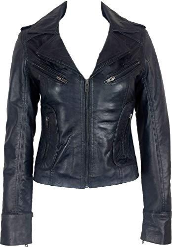 UNICORN Femmes Réel en cuir Veste Noir Ciré #Z6 Taille 44