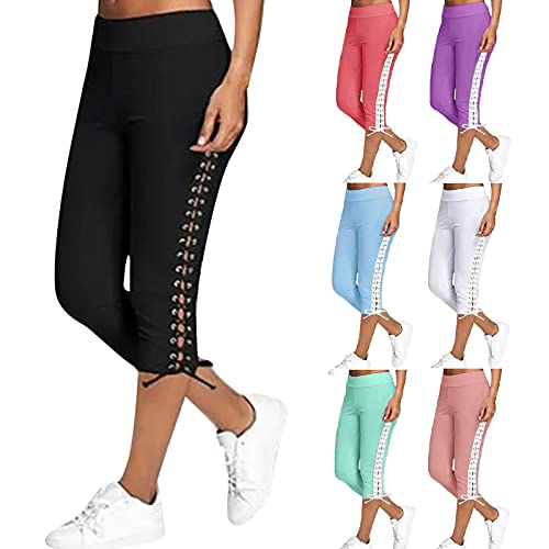 Pantacourt grand pour femme - Taille haute - Pantalon de jogging avec bandages et poches - Casual Hollow Sport - Collant de jogging, fitness, de loisirs, de course - Beige - Taille unique