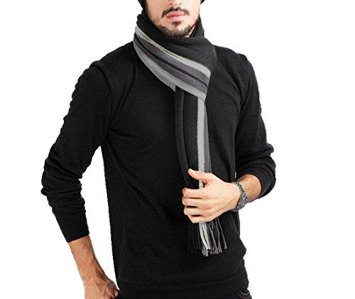 Écharpe Homme Stripes en Laine Acrylique Long Chaude Vogue en Automne/Hiver Souple Confortable...