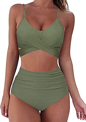 CheChury Bikini Set Femme Taille Haute 2 Pièces Maillot de Bain imprimé Taille Haute Vintage Ensemble de Plage Fille Push Up Tenue de Plage Tankini